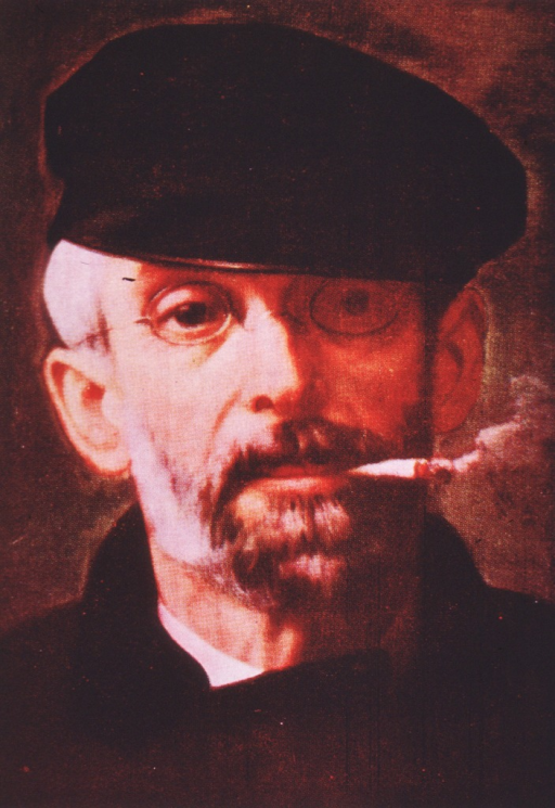 <p>Head and shoulders, full face, wearing hat and glasses; smoking a cigarette.</p>