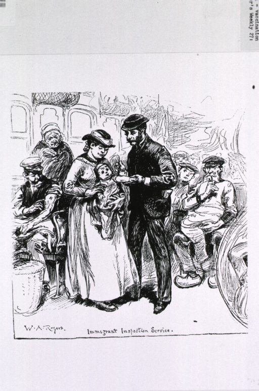 <p>Westward bound - scenes on an immigrant train showing immigrant inspection service, with a doctor vaccinating for smallpox.</p>