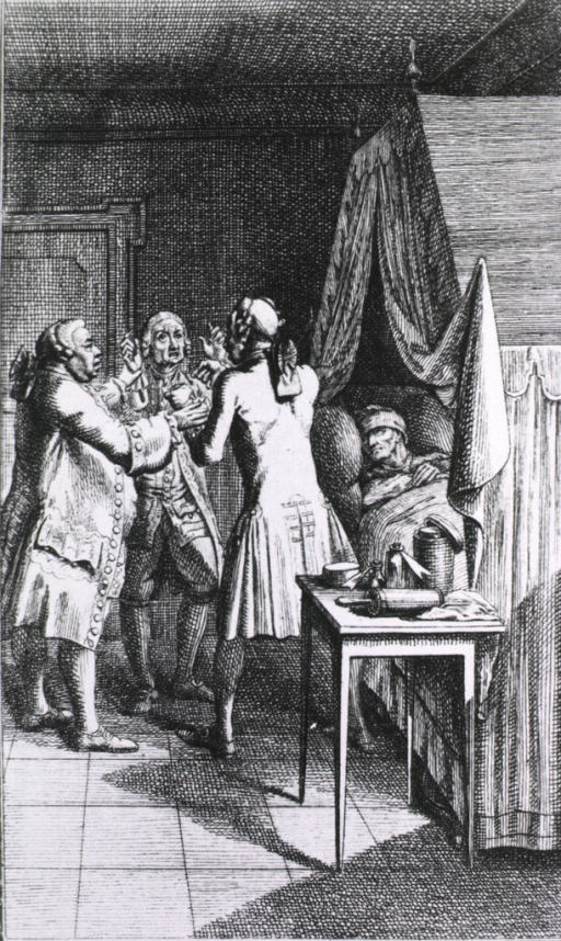<p>Three physicians are vehemently discussing the patient's case as he looks on from his bed.</p>