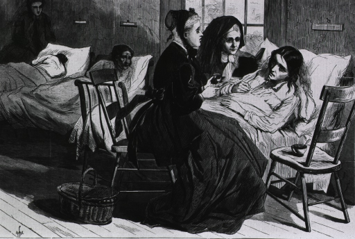 <p>Scene in the hospital for incurables on Blackwell's Island.  Interior ward scene.</p>