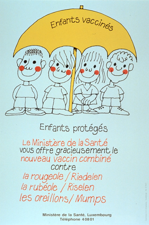 <p>White poster with red and black lettering, illustrated with a drawing of four children under a yellow umbrella.  The title words &quot;Enfants vaccines&quot; appear across the face of the umbrella.  Remaining title words appear below children.  Lower portion of poster features caption, announcing the availability of the combined vaccine for measles-mumps-rubella.  Telephone number for Ministere de la Sante is at bottom of poster.</p>