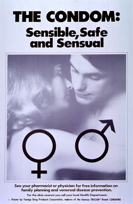 <p>White poster with black lettering.  Title at top of poster.  Visual image is a reproduction of a b&amp;w photo showing a man and woman, both without shirts, embracing.  Male and female symbols are superimposed on the photo.  Caption below photo.  Publisher information at bottom of poster.</p>