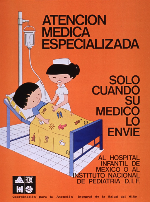 <p>Predominantly orange poster with black lettering.  Initial title phrase at top of poster; remaining title text on right side.  Title deals with specialized medical care.  Visual image is an illustration of a child with an IV in a bed while a nurse stands by.  Note in lower right corner.  Publisher information at bottom of poster.</p>