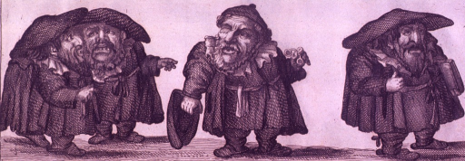<p>Caricature of scholars, one of which is holding a pair of spectacles, and another is carrying a book.</p>