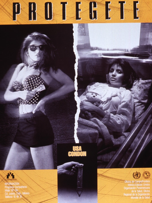 <p>Gold poster with multicolor lettering.  Title at top of poster.  Dominant visual images are two b&amp;w photo reproductions featuring a young woman working as a prostitute and the same woman lying in a hospital bed.  A smaller photo reproduction showing a condom separates the two images and bears the caption text, which urges using a condom.  Publisher information in lower left corner, sponsor information in lower right corner.</p>