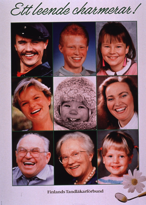 <p>Multicolor poster with green and black lettering.  Title at top of poster deals with a smile being attractive or captivating.  Visual images are nine color photo reproductions featuring smiling people of all ages.  A dental mirror and a daisy also appear in the lower right corner.  Publisher information at bottom of poster.</p>