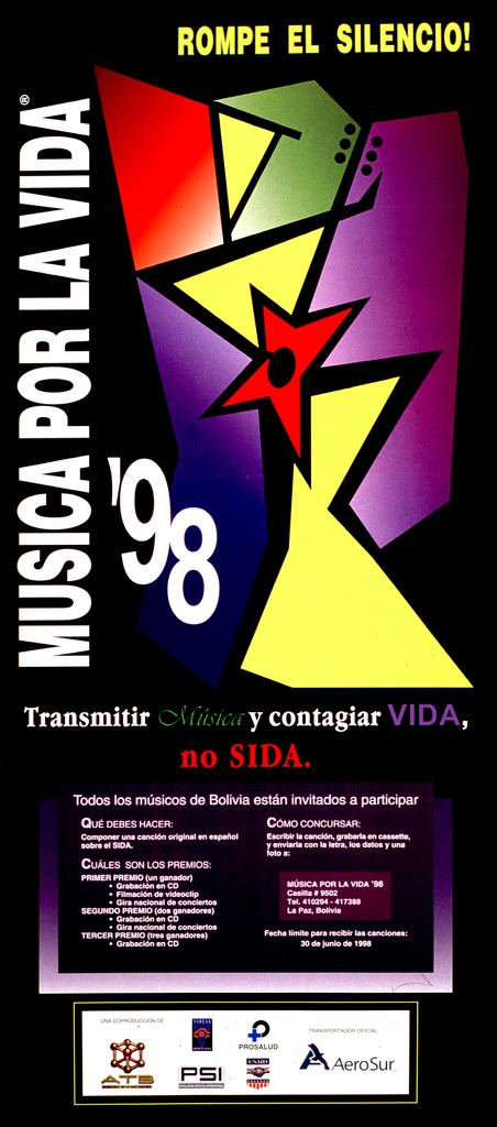 <p>Multicolor poster.  Initial title phrase on left side of poster with vertical orientation, remaining title text at top of poster.  Visual image is an abstract geometric design.  Note below design encourages reader to &quot;transmit&quot; music and &quot;catch&quot; life, not AIDS.  Text describing event below note.  Sponsors listed at bottom of poster.</p>