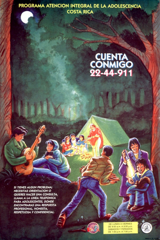 <p>Multicolor poster.  Title at top of poster.  Visual image is an illustration of several teens on a camping trip.  Some sit around a campfire near the tent, others are in the foreground playing the guitar and feeding a squirrel.  Note and hotline number superimposed on illustration.  Additional text in lower left corner promotes the hotline for teens.  Publisher and sponsor information in lower right corner.</p>