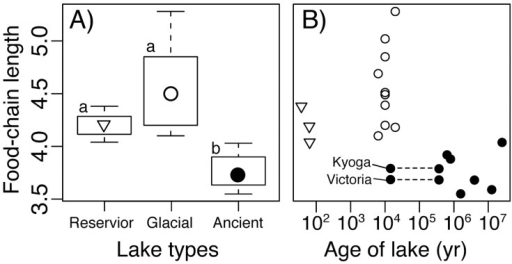 Food-chain length in lakes of different origins and age.A) Boxplot for food-chain length in lakes of different origins. Symbols represent the median FCL, boxes  =  inter-quartiles, and bars  =  maximum and minimum values. Different letters indicate significant differences by multiple comparison using ANOVA (p<0.001). B) Correlation between age of lake and food-chain length. Different symbols are for reservoir, glacial and ancient lakes (see A). Lake Victoria and Lake Kyoga are originally from 400,000 years ago, but are thought to have dried up 14,600 years ago.