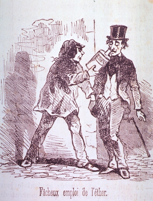 <p>A pickpocket is using ether to render his victims unconscious.</p>