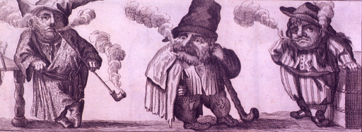 <p>A caricature of class distinction: Three men, each smoking a pipe, as the quality of clothing deteriorates, indicating the social status of each man, so shortens his pipe.</p>