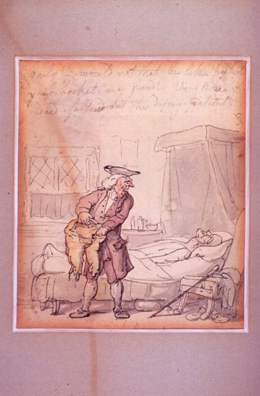 <p>A physician rummages through a recently deceased patient's trousers.</p>