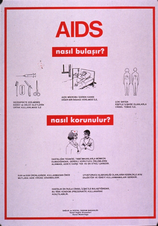 <p>Predominantly white poster with multicolor lettering.  Initial title phrases at top of poster appear to address how AIDS is transmitted.  Some illustrations below title depict cutting instruments, a person receiving an IV, and a male-female couple.   Remaining title phrase below illustrations may address the concept of prevention.  An illustration of two health workers and additional text in lower portion of poster.  Publisher information at bottom of poster.</p>
