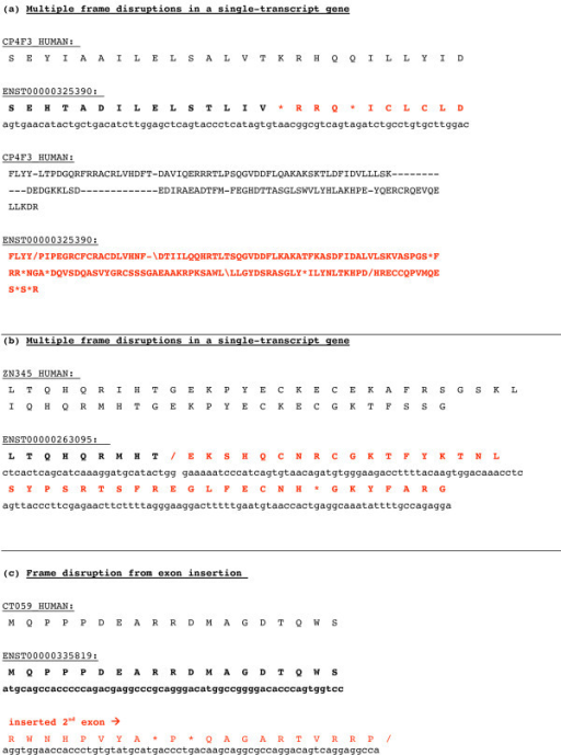 Three examples of dmRNAs. The translated dmRNA sequence is shown along with the corresponding nucleotide sequence; the aligning protein sequence is shown above these in each case. They are as follows: (a) a multiply-disrupted example (homologous to a cytochrome P450); (b) a multiply-disrupted example from a zinc-finger -containing transcription factor family; (c) an alternative splicing of the transmembrane sugar transporter gene, C20orf59, which appears to be a transmembrane sugar transporter.