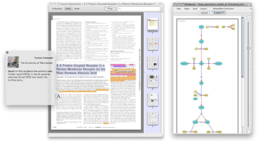 Forthcoming tools. Screenshots of Utopia Documents (left) and Networks (right). In Documents, the different coloured highlights represent areas of interest, determined algorithmically or by manual annotation (for example, here the comment bubble shows a reader adding a commentary to this paper, which is then automatically shared with all other readers). In Networks, nodes are coloured according to whether they represent metabolites or their co-factors.