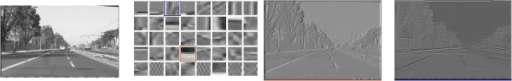 Initial basis images. a) the original image; b) a set of basis functions received by ICA from several patches from one image; c) and d) the convolution results of two functions with the original image.
