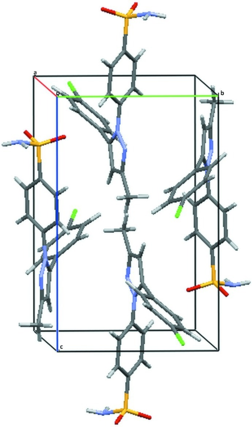 A view of the molecular packing along the a axis.