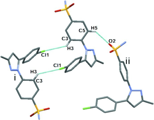 Image showing the intermolecular C–H···O and C–H···Cl hydrogen bonds. The H atoms not involved in any interaction have been omitted for clarity. Symmetry codes: (i) 2 - x, 1 - y, -z; (ii) x, 1/2 - y,1/2 + z]