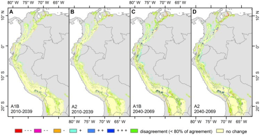 "Agreement on the direction of the projected change between biome models using different climatic models.Calculations were made for scenario A1B 2010–2039 (A), A2 2010–2039 (B), A1B 2040–2069 (C) and A2 2040–2069 (D) based on physiognomy (desert, grassland, shrubland, forest) or humidity level. +++ Increasing vertical structure, ++ Either increasing vertical structure or humidity level, + Increasing humidity level, stable physiognomy, - Decreasing humidity level, stable physiognomy, -- Either decreasing vertical structure or humidity level, --- Decreasing vertical structure. Areas where less than 7 models agree on the direction of change are considered under the class ""disagreement""."
