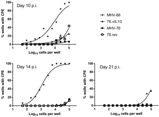vIL10 does not affect the quantity of reactivating virus. Spleen cells were plated atop MEF cells in dilutions across 96-well plates as indicated on the x-axes with 16 duplicate wells per dilution. Wells were scored for CPE on days 10, 14 and 21. Curve-fit lines represent results of nonlinear regression analysis. Data points represent the mean of two independent experiments with spleens pooled from five mice per experiment. Results indicate no difference between MHV-76 and recombinants with or without vIL10.