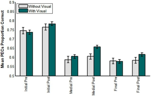 Pre- vs. post-training consonant identification scored in terms of phoneme equivalence classes (PECs). The participants who did not receive visual training (−V) comprised those in the AO and control groups. The participants who did receive visual training (+V) comprised the VO, VA, and VT groups. (Initial = initial consonant; Medial = medial consonant; Final = final consonant).