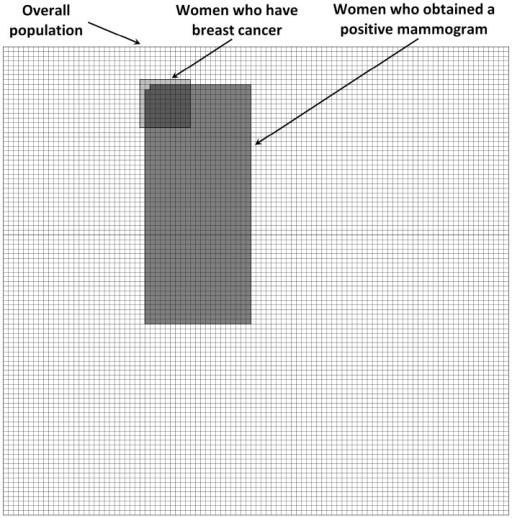 Visual aid representing the overall number of women at risk, the number of women who have breast cancer, and the number of women who obtained a positive mammogram.