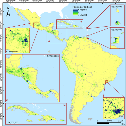 Estimated people per grid cell for Latin America and the Caribbean in 2010 (excluding Guadalupe, Martinique, Bahamas, Barbados, Saint Lucia, Curaçao, Aruba, Saint Vincent and The Grenadines, US and British Virgin Islands, Grenada, Dominica, Cayman Islands, Saint Kitts and Nevis, Sint Maarten, Turks and Caicos Islands, Saint Martin, Caribbean Netherlands, Anguilla, Saint Barthélemy, and Montserrat).The grid cell resolution is 3 arc seconds (approximately 100 m at the equator) and coordinates refer to GCS WGS 1984. For illustrative purpose, the color ranges used are country-specific.