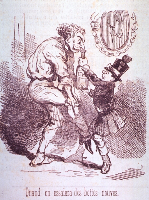 <p>A boy is holding a bottle of ether under the nose of an old man struggling to pull on a boot.</p>