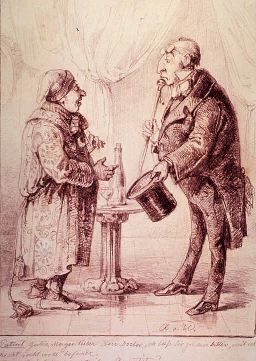 <p>A physician with eyeglasses resting on his forehead, cane to his chin, and hat in hand is greeted by his patient wearing a long robe and a cap.</p>