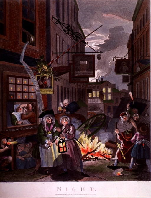 <p>A drunken magistrate stumbles down Charing Cross Road, oblivious to the shower falling from an emptied chamberpot; to the grimacing patient undergoing treatment in the window behind him; and to the  fire, homelessness, and wreckage of the disintegrating city around him.</p>