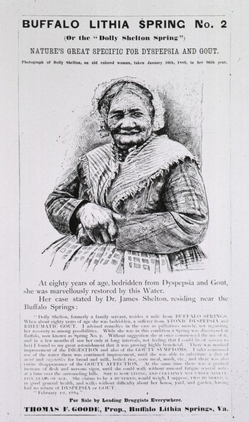 <p>An old woman shown half-length who was &quot;marvellously restored&quot; by the product advertised, natural spring water.</p>