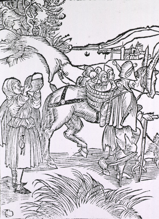 <p>A man with a peg support for his right leg and a cane is leading a donkey on which are two baskets filled with children; a woman following has stopped to drink from a jug.</p>