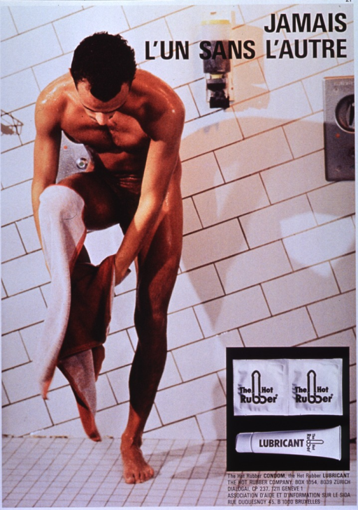 <p>Multicolor poster with black lettering.  Entire poster is a reproduction of a color photo showing a man drying himself in a shower room.  Title in upper right corner.  Additional photo reproduction near lower right corner displays two Hot Rubber condoms and a tube of lubricant.  Publisher information in lower right corner.</p>