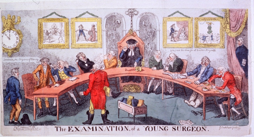 <p>A young surgeon, standing left, is undergoing questioning by members of the Court of Examiners of the Royal College of Surgeons who are seated round a semi-circular table; skulls and bones decorate the Master's chair, behind which hang two skeletons.</p>