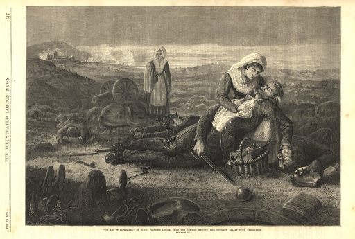 <p>Two nurses tend to the wounded and fallen in a battlefield during the Franco-Prussian War.  In the distance, smoke rises from buildings.</p>