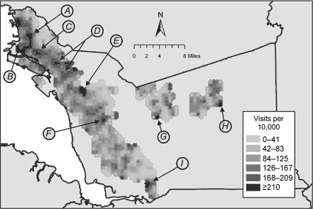Raster surface for rates of asthma-related emergency department visits among Kaiser Permanente and Medi-Cal fee-for-service enrollees younger than 18 years in 2001, Alameda County, California. Subsets of the total areas having statistically significantly elevated rates are indicated with arrows. (A, neighborhood of North Oakland; B, neighborhood of West Oakland; C, neighborhood of San Antonio; D, neighborhood of East Oakland; E, western portion of city of Castro Valley; F, neighborhood of South Hayward; G, southwestern portion of city of Pleasanton; H, southeastern portion of city of Livermore; I, southwestern portion of city of Fremont.)