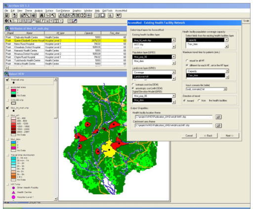 Screenshot of an ArcView 3.×/AccessMod session. The view shows outputs from the analysis of an existing network, as well as one of the dialog windows of AccessMod.