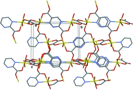 A view down the a axis of the crystal structure of [Mn2(pymca)2(ox)(H2O)2]n, showing the environment of the manganese atoms and the bidimensional (6,3) net topology. The H atoms have been omitted for clarity.