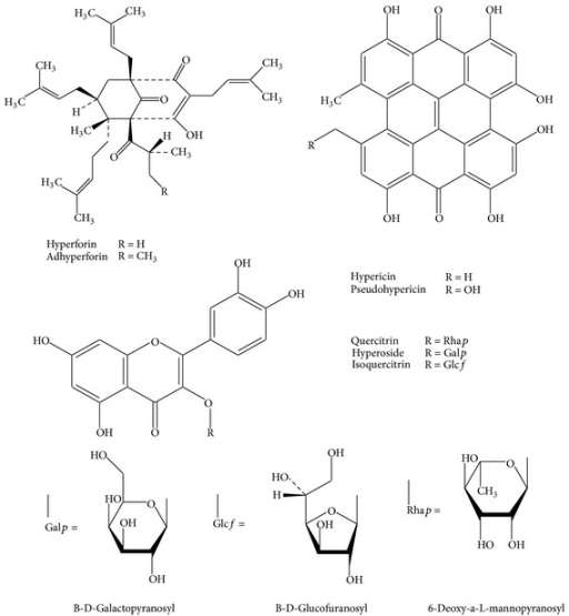 Structures of some of the major chemical constituents present in St. John's wort extracts.