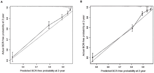 Calibration plots for pre- and post-operative nomograms predicting biochemical recurrence (BCR)-free probability on internal validation for 2 years after radical prostatectomy.Panel (A) and (B) represent calibration plots, respectively, for pre- and post-operative nomograms. Bootstrapping method was used for the internal validation of these nomograms. Grey line indicates the predictive performance of a perfect nomogram, and black line represents the predictive accuracy of our nomograms.