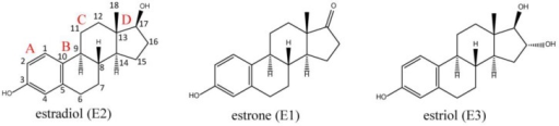 Structures of natural estrogens: estradiol (E2, the most potent), estrone (E1) and estriol (E3). The four rings of the endogenous ligand, E2, are labelled A-D according to the widely accepted naming convention.