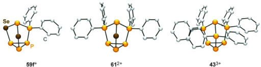 Nortricyclane type molecular structures of the related, polyphosphorus cations 59f+, 612+ and 433+.