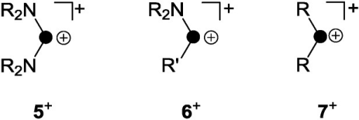 Distinct types of phosphenium ions featuring two (5+) or one (6+) stabilizing amino-substituents and elusive, non-stabilized phosphenium ion 7+ (R, R′ = alkyl, aryl).