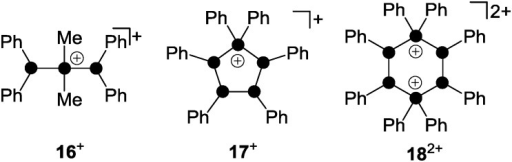 Polyphosphorus cations 16+, 17+ and 182+ obtained via the formal insertion of R2P+-phosphenium ions (R = Me, Ph) into the P–P bond of (Ph2P)2, (PhP)4 and (PhP)5.
