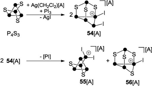 Reaction of P4S3 with in situ generated phosphenium ion PI2+; A = Al(OC(CF3)3)4.