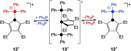 SN2-type substitution of the phosphoniumyl-moiety in 12+.
