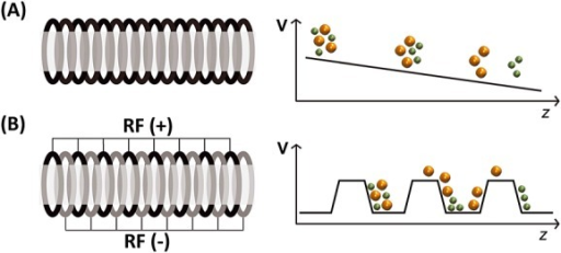 Main difference between (A) drift tube ion mobility spectrometry (DTIMS) and (B) traveling wave IMS (TWIMS). High mobility ions are in green and low mobility ions are in orange. (A) In DTIMS, a constant and homogeneous potential gradient is applied along the tube. (B) In TWIMS, the ions are confined by a radio frequency (RF) applied to a stacked ring ion guide. In addition, a direct current voltage wave is traveling to the exit (T-wave). Ions of higher mobility are picked up more easily by the waves, whereas larger ions are subjected to larger friction with the gas and slip more often behind the waves and therefore take longer to exit the mobility cell.