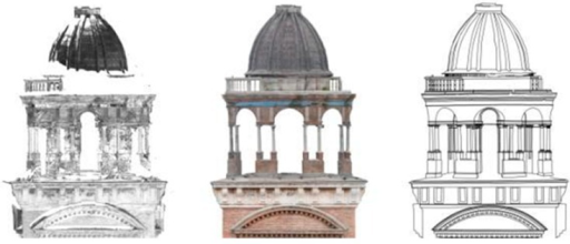 Comparison between the Santa Barbara bell tower's top laser scanner data and the respective surface orthophoto elaborated from the photogrammetric 3D model.