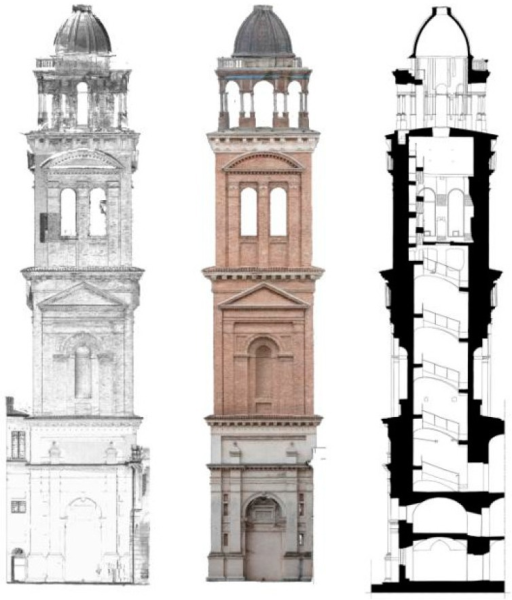 Santa Barbara bell tower. Laser scanning and photogrammetry data and a final elaboration of a vertical section obtained using both the technologies.