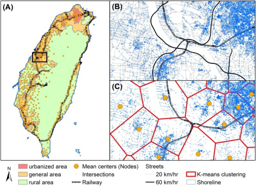 Transformation from transportation system to geospatial network.Spatial distribution of (A) national-scale population centers and urbanization status, (B) junctions of the streets, and (C) the centroid nodes where people gathering together. Data souce: Institute of Transportation, MOTC (Taiwan).
